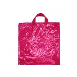 50 Sacos Plástico Asa Flexível Rosa