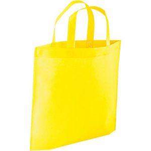 Saco com fole inferior TNT 80g Amarelo